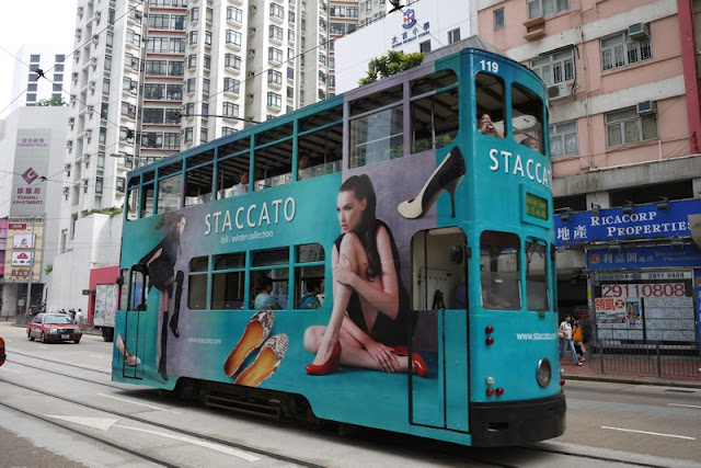 Tram in Hong Kong with Staccato advertising