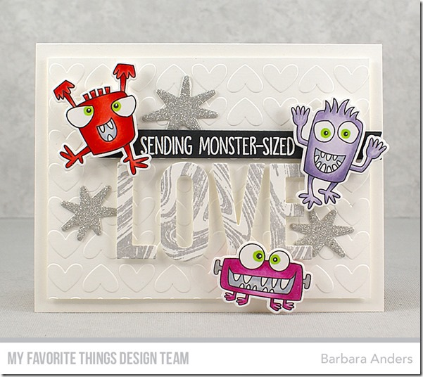 Stamps: Monster Sized, Marble Background  Die-namics: Monster Sized, Love You, Full of Heart, Blueprints 30  / Barbara Anders / #mftstamps