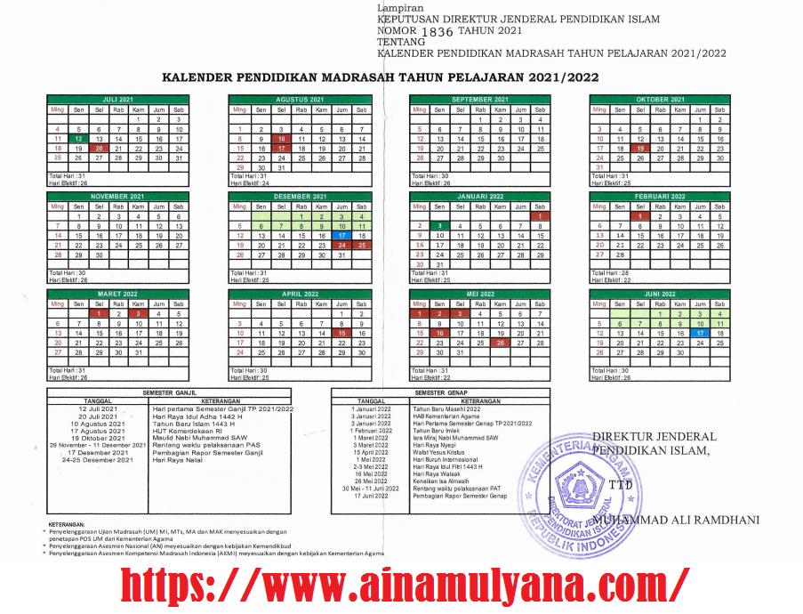 Kalender Pendidikan Madrasah (Kemenag) Tahun Pelajaran 2021/2022