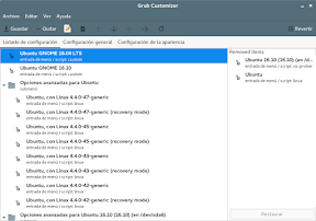 Modificar el menú de arranque de Ubuntu con Grub Customizer. Ventana Principal.