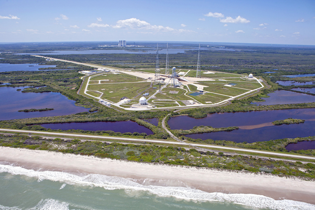 The refurbished Launch Complex 39B at Kennedy Space Center, which is on the ocean and surrounded by marshland, in 2013. Photo: Kim Shiflett / NASA