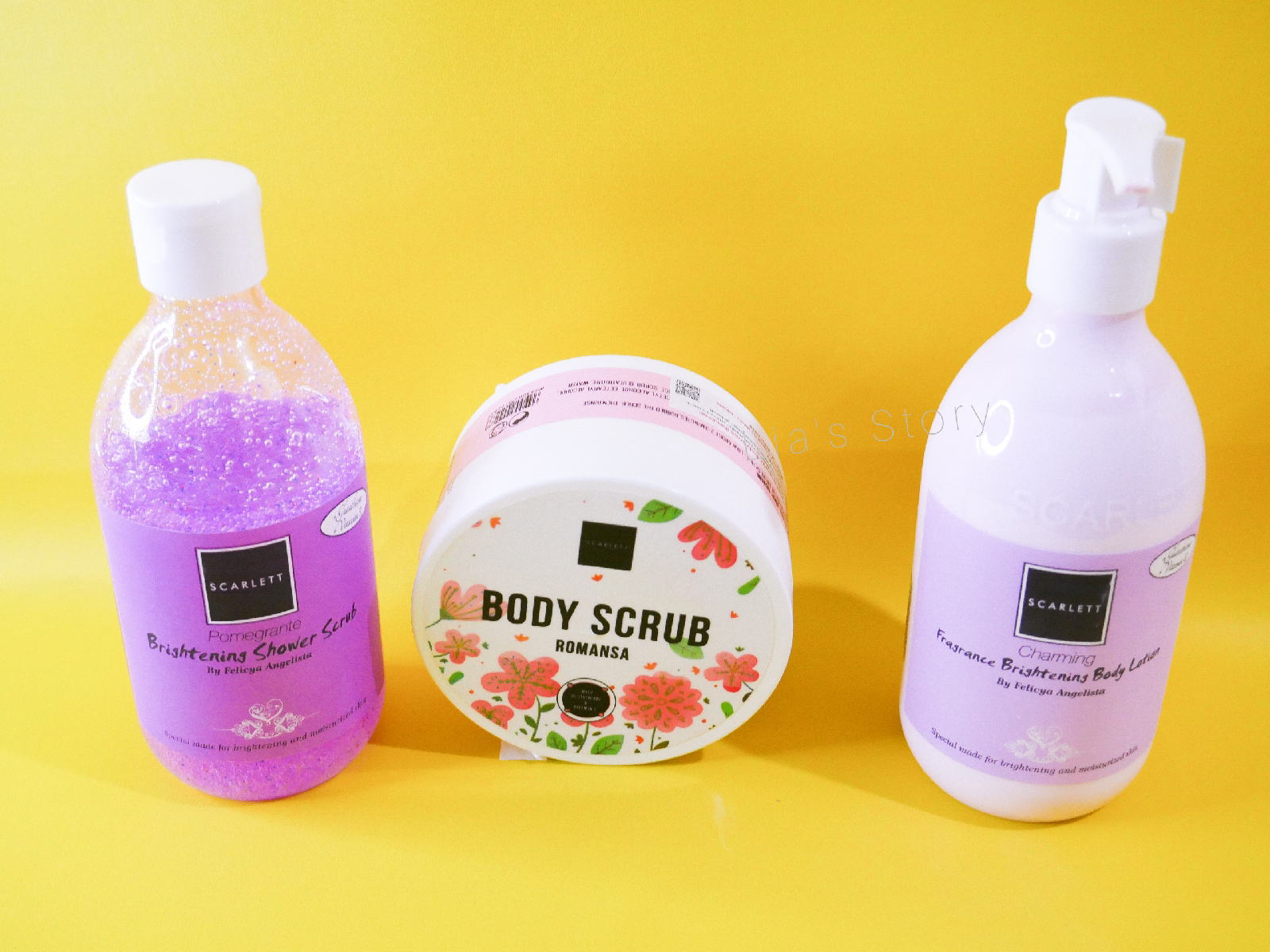 Review Scarlett Whitening Body Care Yang Mencerahkan Kulit Body Scrub Body Lotion Shower Scrub Lia S Story
