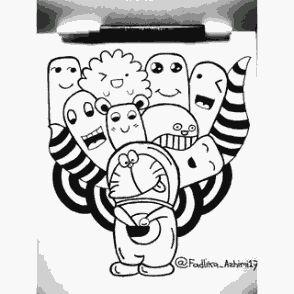 Contoh Gambar Doodle Doraemon Simple Keren Blog Tips 3 Kartun