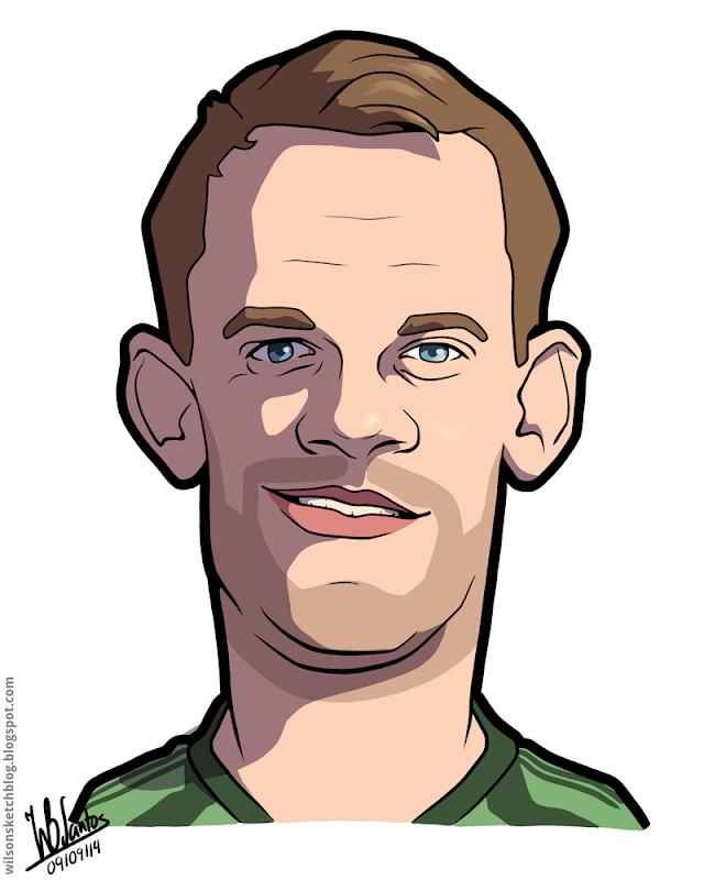 Cartoon caricature of Manuel Neuer.
