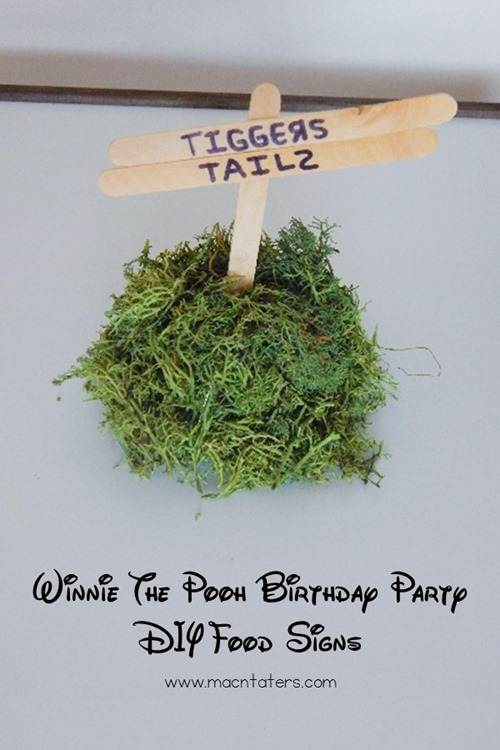 Give your Winnie the Pooh Birthday Party or Winnie the Pooh Baby Shower that Hundred Acre Wood touch with these DIY Foods Signs. They are super simple to make and add the perfect touch to your boy or girl birthday party or baby shower.