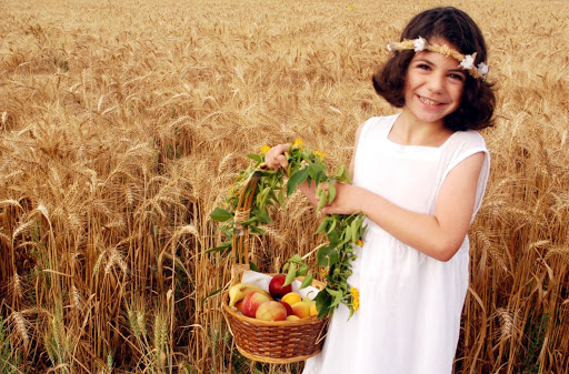 An Israeli Girl celebrates Shavuot in a Kibbutz in Israel on the Jewish feast of Shavuot.