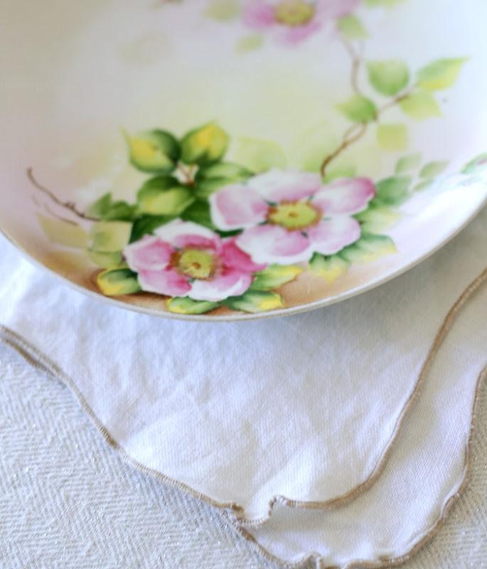 Vintage Keepsake Floral Plate on Linen