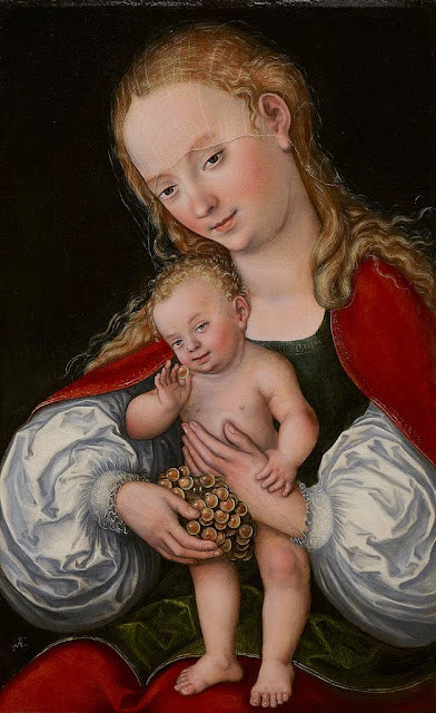 Lucas Cranach the Elder - Madonna and Child with Grapes