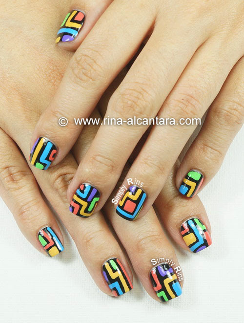 Crazy Lines Nail Art Design