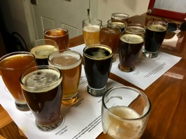 Two flights of seven beers each