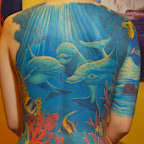 three dolphins - Back Tattoos Designs