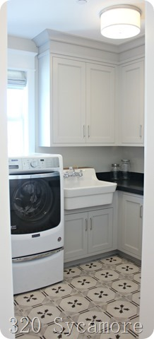 grey laundry room patterned floor