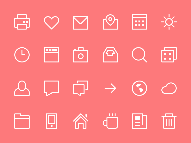 Thin Stroke Icons Freebie PSD