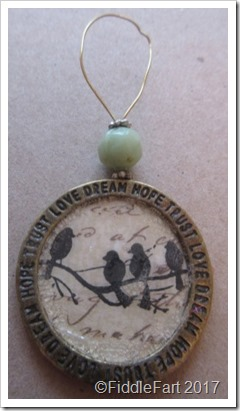 stamped bird tag decoration