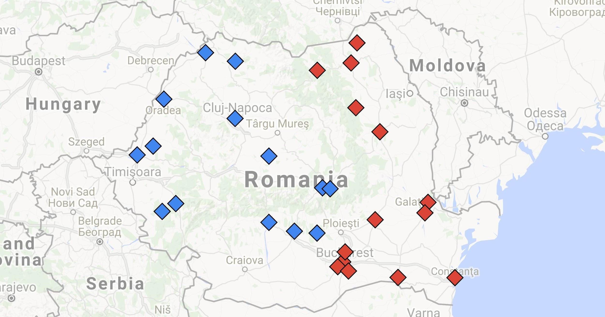 Harta echipelor de Liga a II-a, sezonul 2015/2016