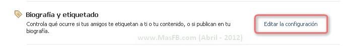 Muro Facebook Biografía 2012 Privacidad