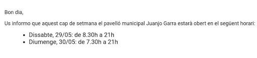 Horari rocòdrom municipal del pavelló Juanjo Garra (laborals de 17h a 21h)