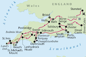 Cornwall, Südengland, Rundreise, Heideker Reisen, Hever Castle, Edenbridge, Anne Boleyn, Southampton, Salisbury, Stonehenge, St. Mary´s Cathedral, Magna Charta, Sidmouth, Exeter, Torquay, Dartmoor, Dartmouth, Widecombe-in-the-Moor, Falmouth, Lanhydrock House, Land´s End, St. Michael´s Mount, Minack Theatre, St. Ives, Rosamunde Pilcher, Cream Tea, Bodmin Moor, Taunton, Glastonbury, Wells, Brockworth, Vicar´sClose, Bath, Roman Bath, Royal Crescent