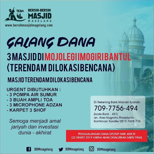 BBM Peduli untuk Masjid di wilayah banjir di Mojolegi, Imogiri, Bantul, Yogyakarta