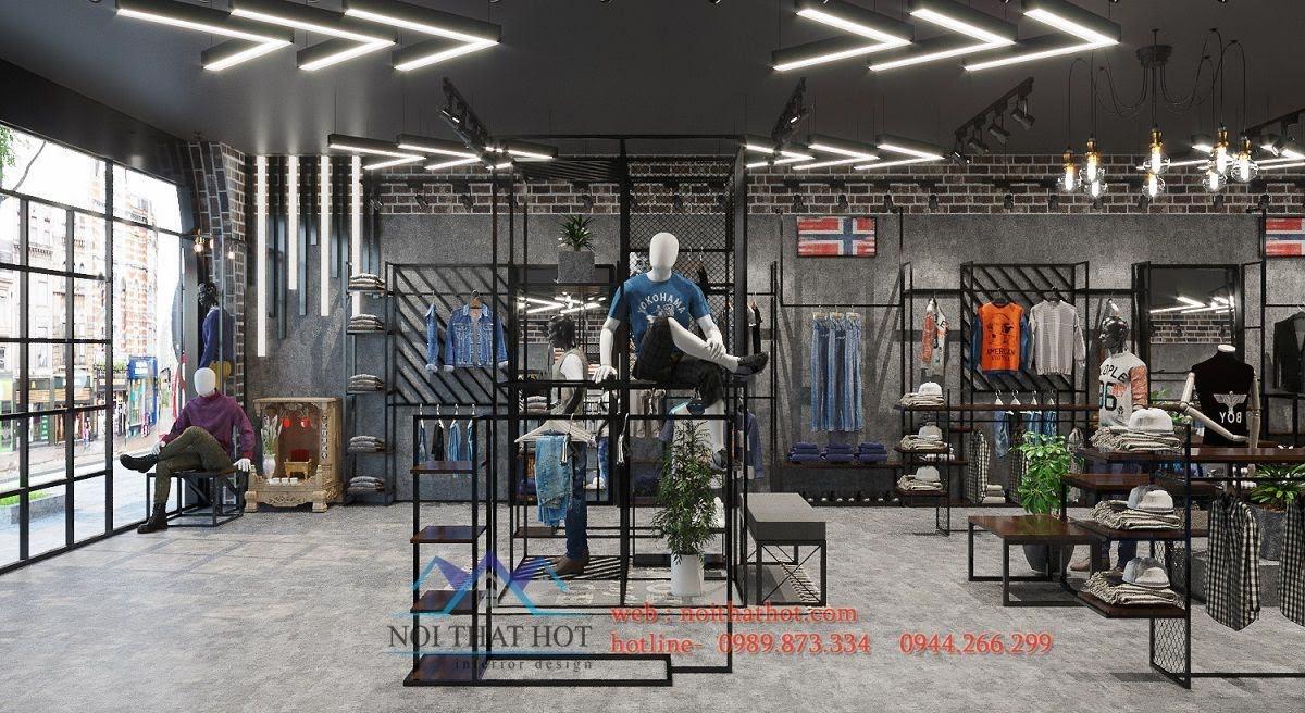 mẫu thiết kế shop quần áo nam đẹp