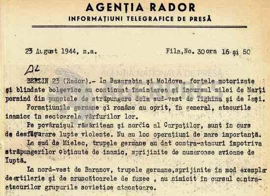 Știre RADOR din 23 august 1944 despre ofensiva sovietică de pe frontul Iași-Chișinău