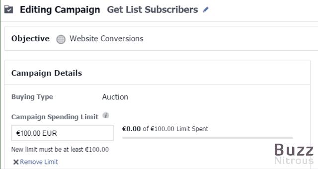 Edit your Campaign Spending Limit