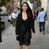 WWW.ENTSIMAGES.COM -    Liz Jones   leaving    The Design Collective for Evans at The Freemasons Hall, LondonSeptember 16th 2014Show hosted by Arcadia Group owner Sir Philip Green as plus size retailer Evans makes its debut on the London Fashion Week schedule.                                                   Photo Mobis Photos/OIC 0203 174 1069
