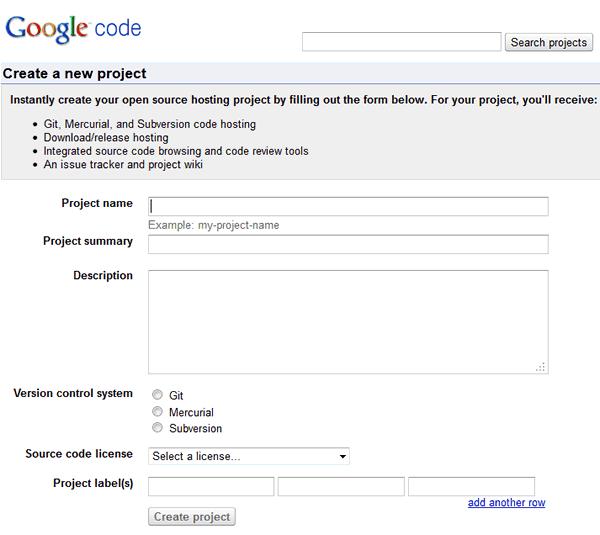 Регистрация на Google Code