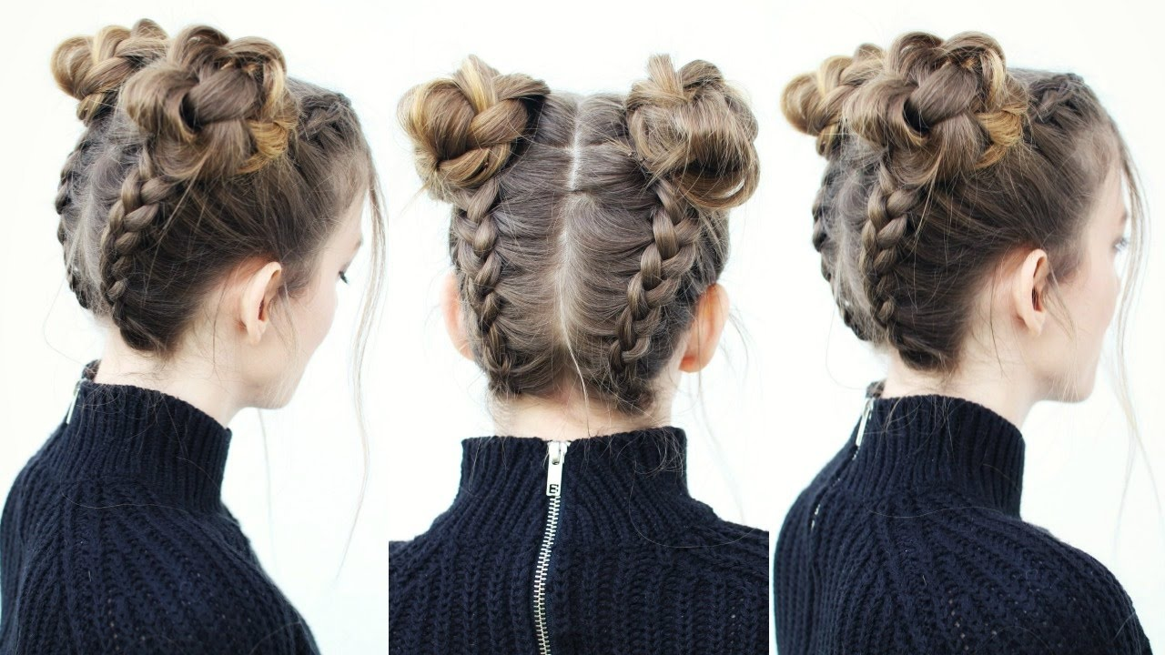 DOUBLE BRAIDED BUNS FOR ATTRACTIVE LADY IN THIS SUMMER 3