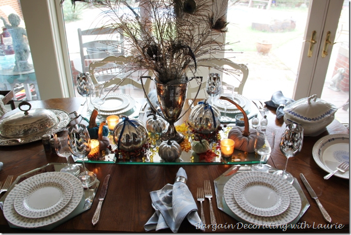 Fall Table in Silver and Blue