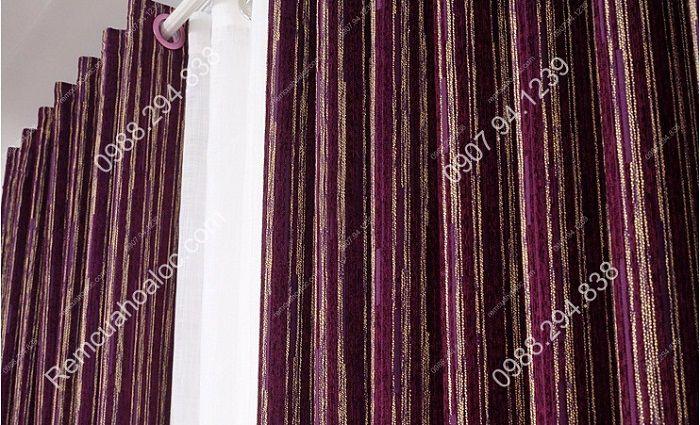 Rèm cửa đẹp hà nội cao cấp một màu nhung nỉ kẻ  2