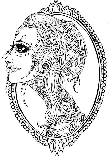 Sugar Skulls Mandalas Printables  Viewing Gallery For Female Sugar Skull  Coloring Page