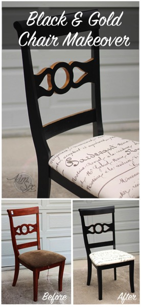 Black and gold thrift store chair makeover