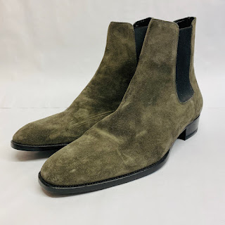 Saint Laurent Gray Suede Chelsea Boots