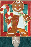 gingerbread man with scarf and candy cane