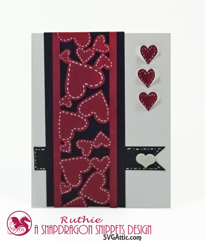 HEARTS RIBBON PANEL VALENTINE A2 CARD, SnapDragon Snippets, Ruthie Lopez