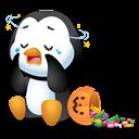 Pingüino Halloween - Se le cayeron sus dulces