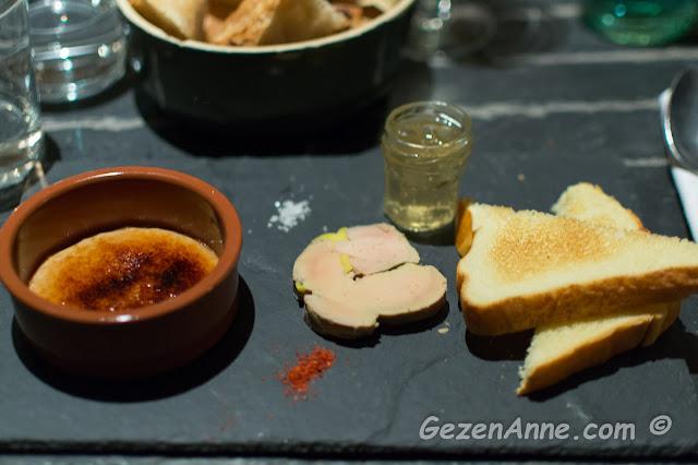 ördek ciğeri ve ördek ciğeri ile yapılmış krem brule, Le Tournebievre Paris