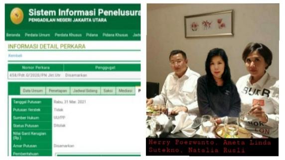 Gugatan Cerai Ditolak PN Jakarta Utara, Natalia Rusli Gagal Memisahkan Herry Poerwanto dari Istri Sahnya