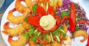 TÔM LĂN BỘT CHIÊN (Đĩa) Shrimp pritters with sweet sour sauce Mélangées crevettes frites au farine