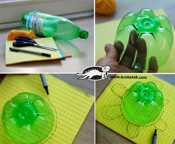 como fazer tartaruga de pet e eva