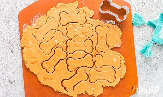 Peanut Butter Dog Treats on a cutting mat