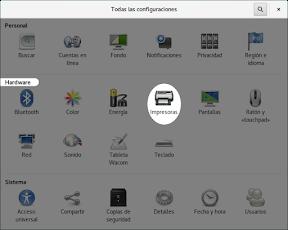 Configurar el hardware en GNOME. Impresoras.