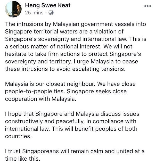 Menteri Singapura Keluar Kenyataan Keras Pada Malaysia