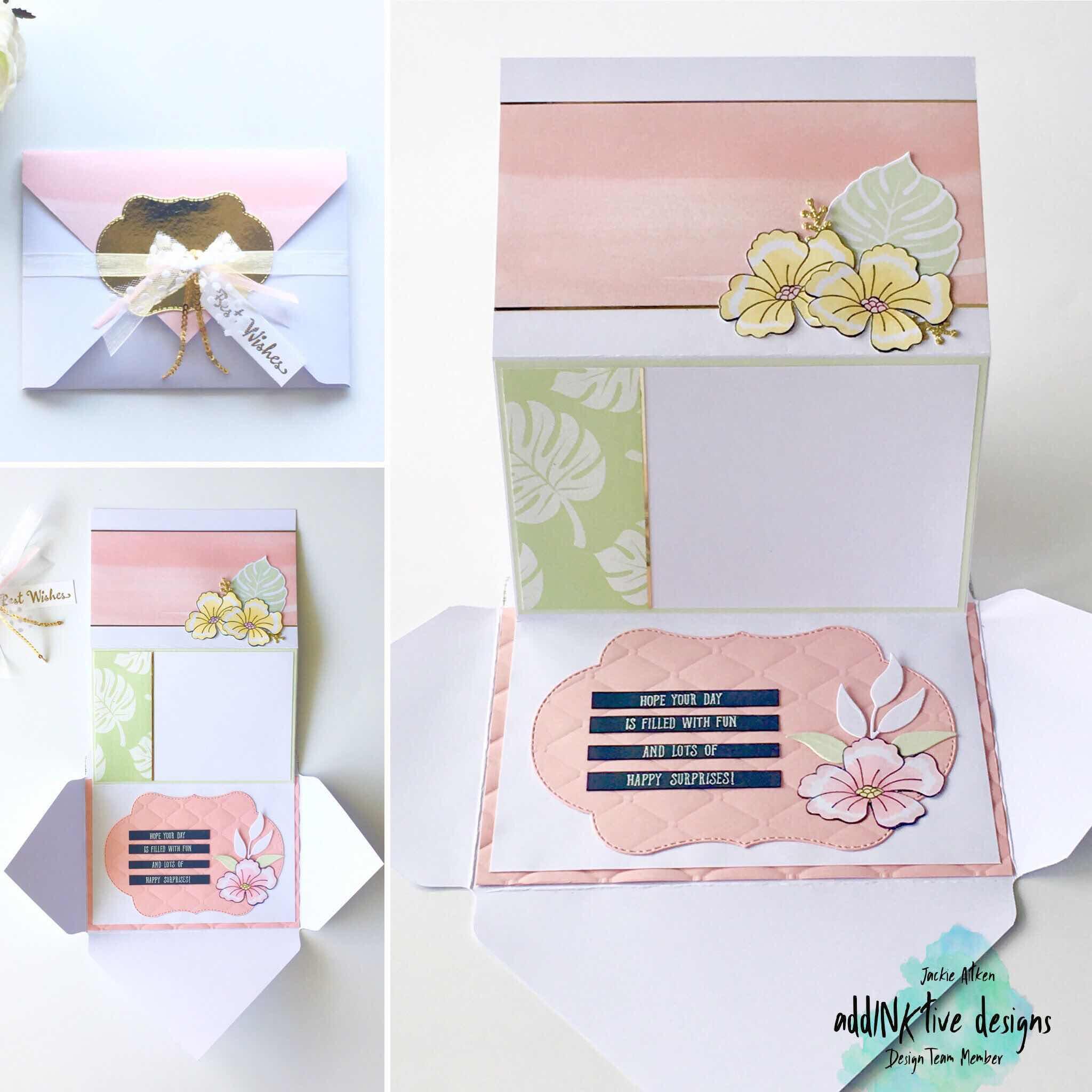stampin up blended seasons, pocket card, postal card pals, tropical chic