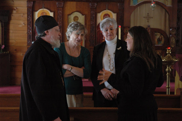 During a break, Fr. John, Ginger, and Edna talk with Matushka Denise Kraus of Holy Trinity in East Meadow.