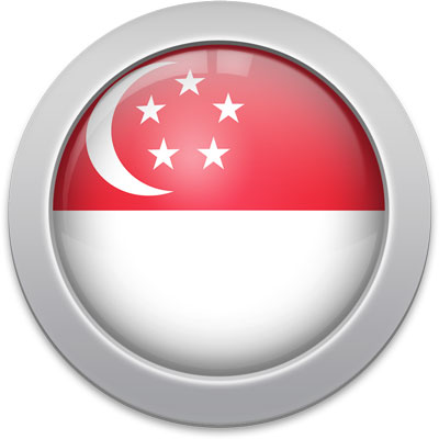 Singaporean flag icon with a silver frame