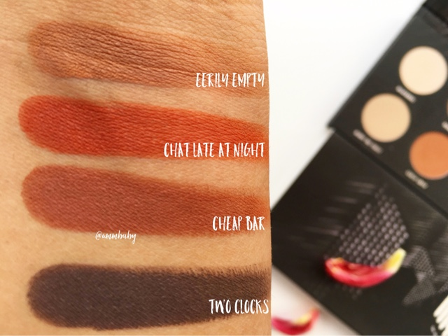 zoeva matte palette swatches NC40 medium indian asian tan skin, zoeva two clocks swatch, zoeva cheap bar swatch, zoeva eyeshadow swatches