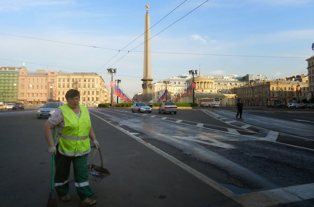 cops and street cleaners prepare the city for a new day