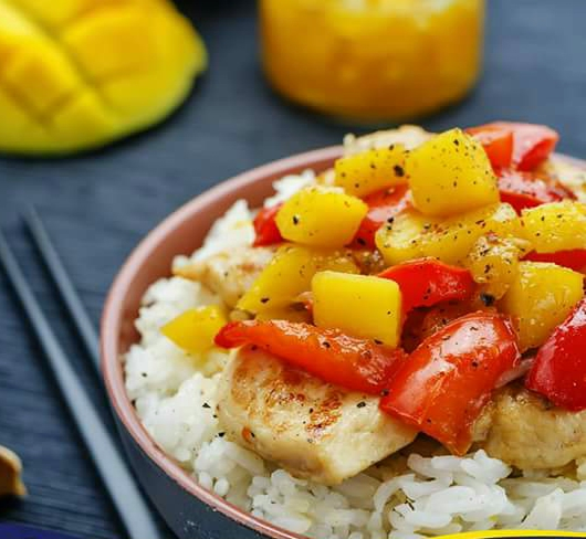 Mango chicken stir fry with rice